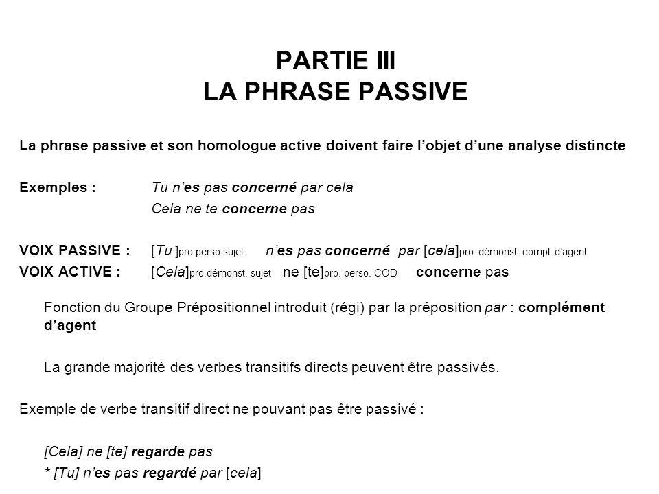 PARTIE III LA PHRASE PASSIVE
