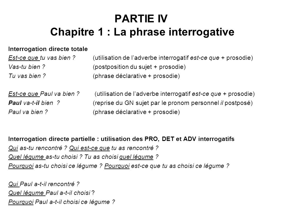 PARTIE IV Chapitre 1 : La phrase interrogative