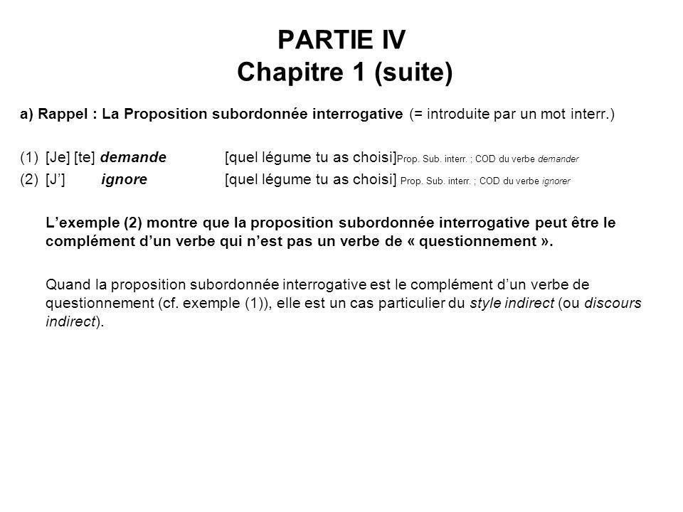 PARTIE IV Chapitre 1 (suite)