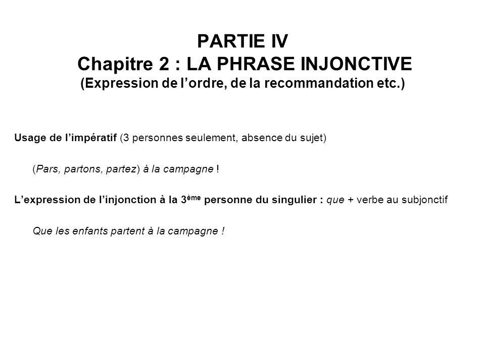 PARTIE IV Chapitre 2 : LA PHRASE INJONCTIVE (Expression de l'ordre, de la recommandation etc.)