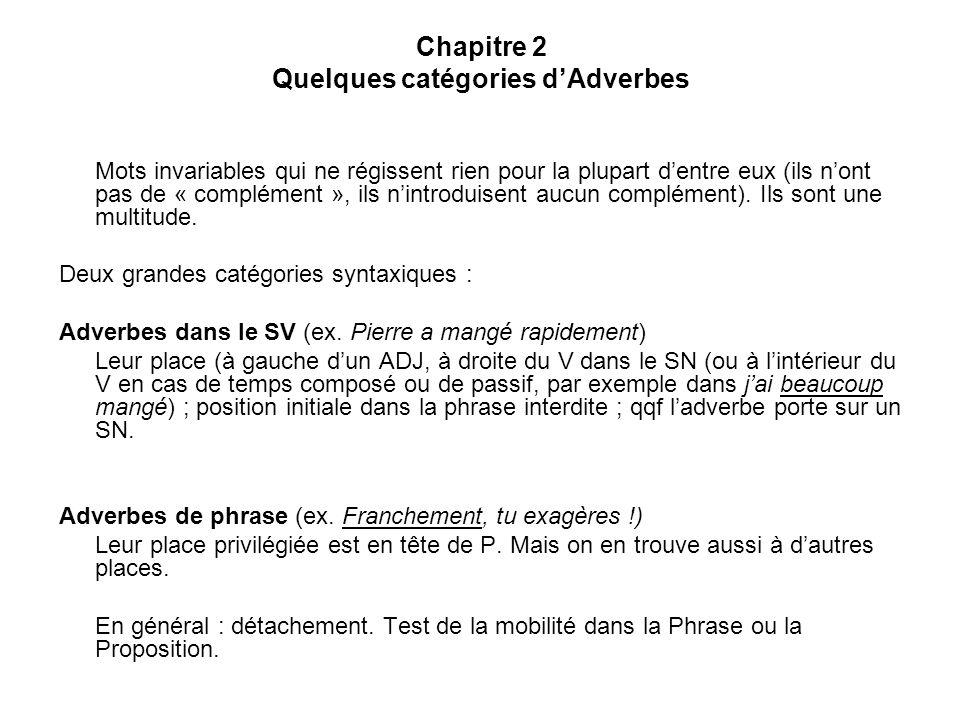Chapitre 2 Quelques catégories d'Adverbes