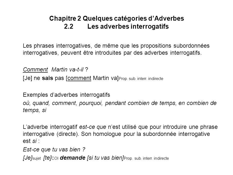 Chapitre 2 Quelques catégories d'Adverbes 2. 2