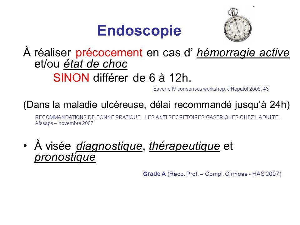 Endoscopie À réaliser précocement en cas d' hémorragie active et/ou état de choc. SINON différer de 6 à 12h.