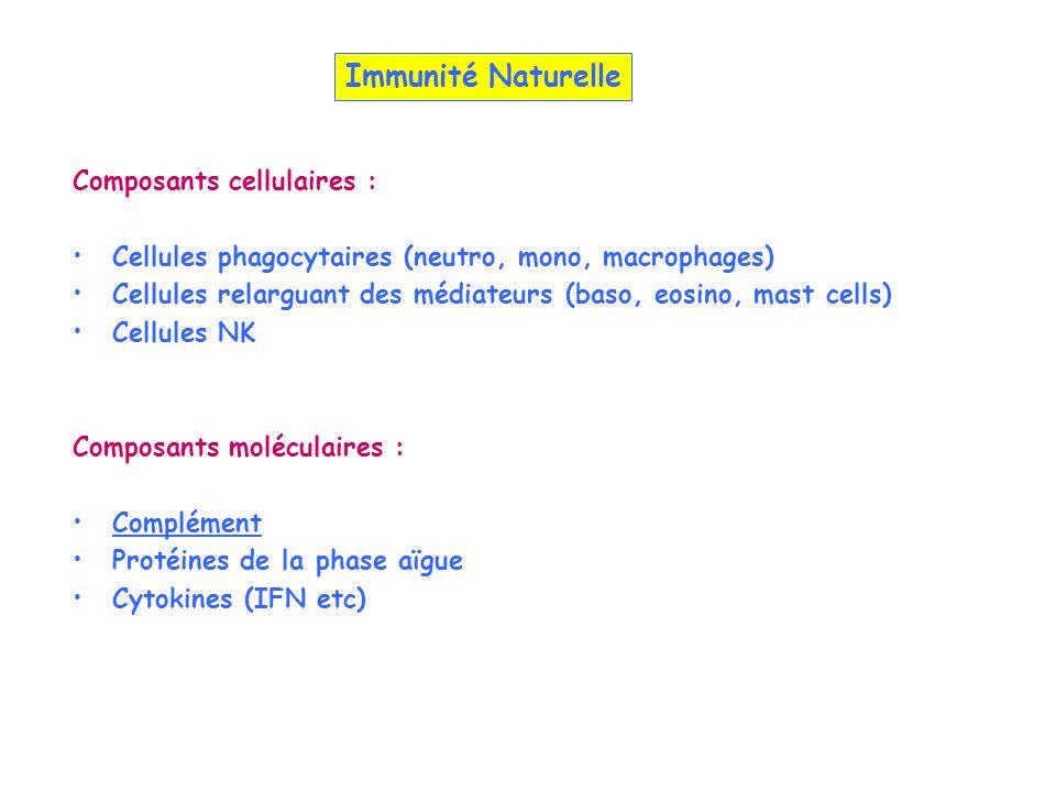 Immunité Naturelle Composants cellulaires :