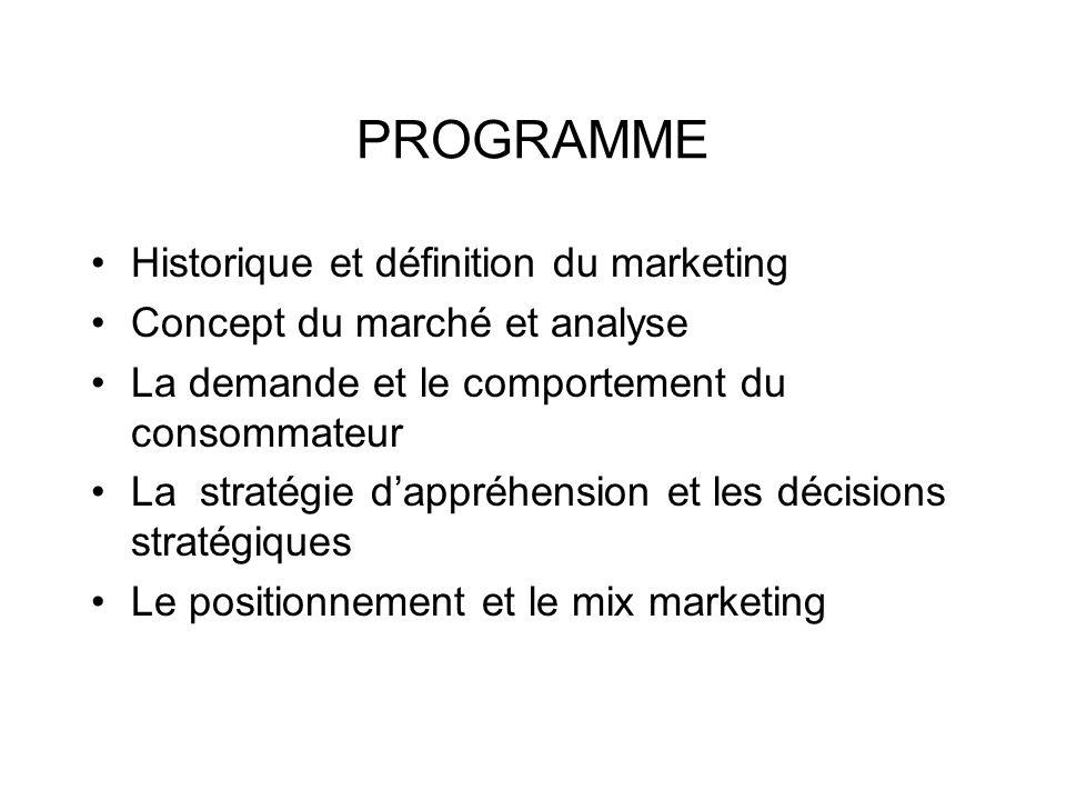 PROGRAMME Historique et définition du marketing