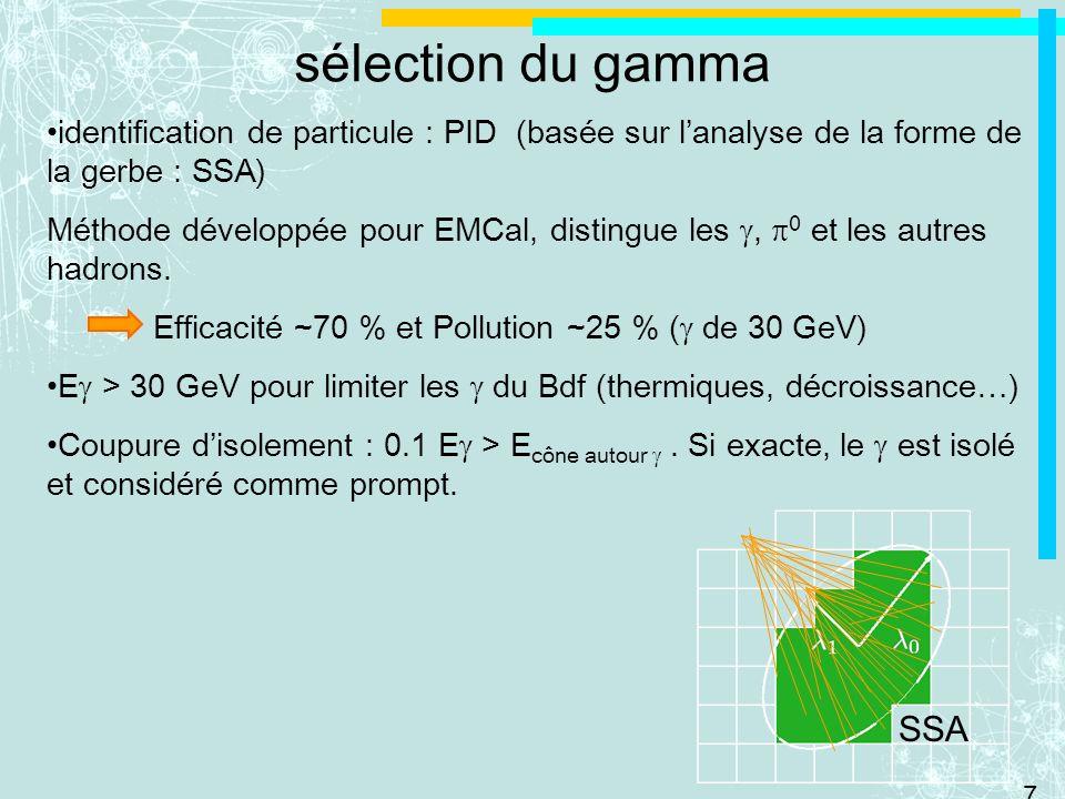 sélection du gamma identification de particule : PID (basée sur l'analyse de la forme de la gerbe : SSA)