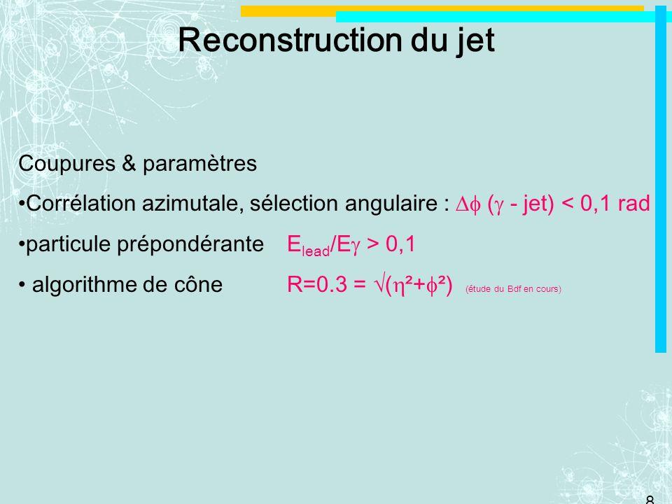 Reconstruction du jet Coupures & paramètres