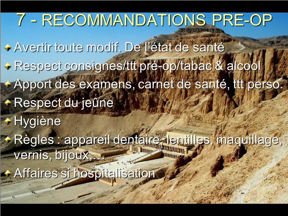 7 - RECOMMANDATIONS PRE-OP