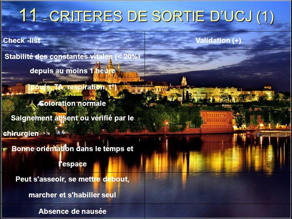 11 – CRITERES DE SORTIE D'UCJ (1)