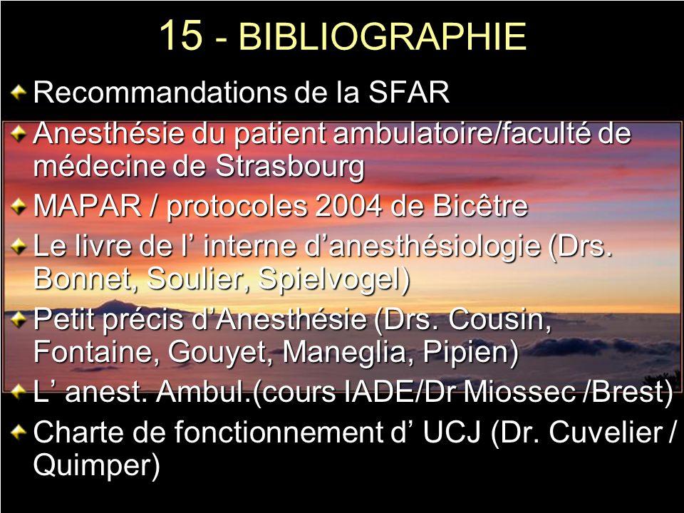 15 - BIBLIOGRAPHIE Recommandations de la SFAR
