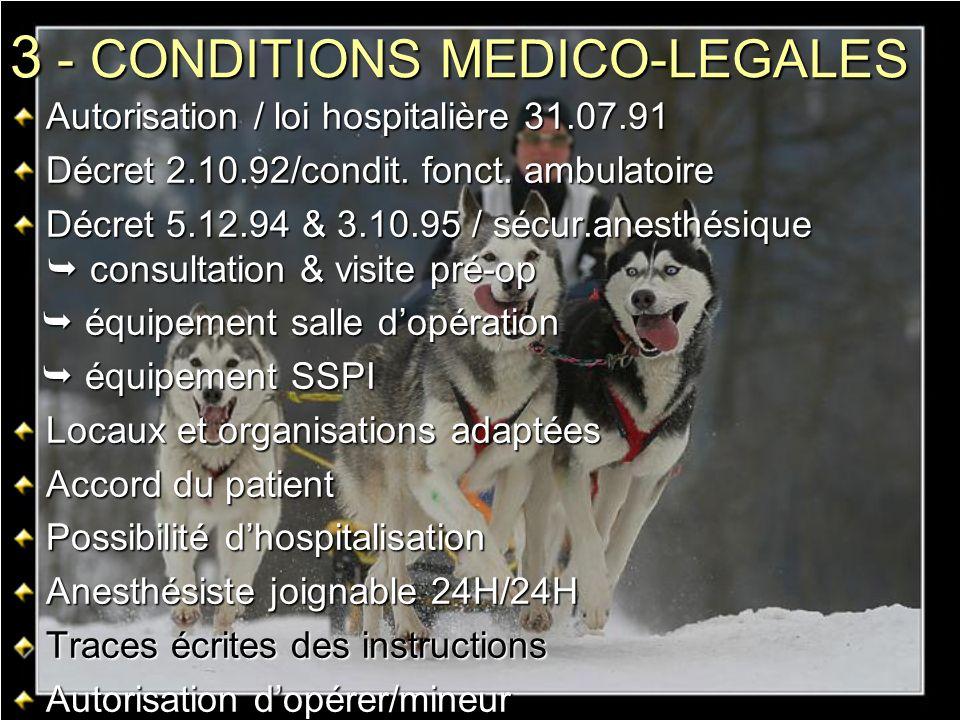 3 - CONDITIONS MEDICO-LEGALES