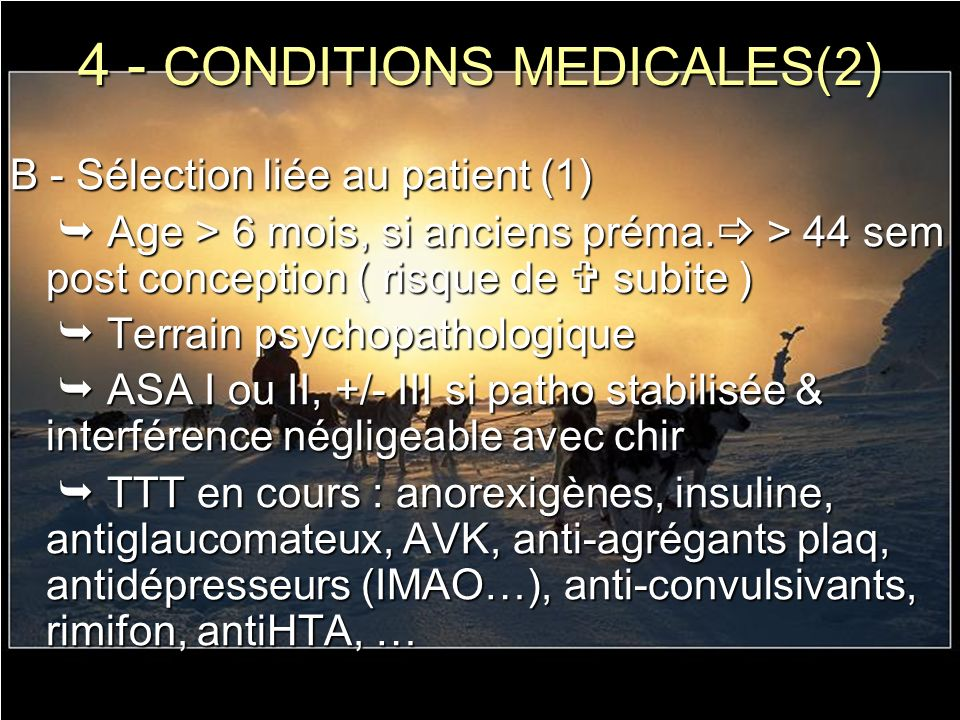 4 - CONDITIONS MEDICALES(2)