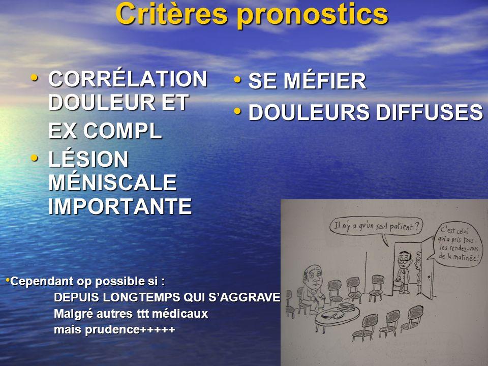 Critères pronostics CORRÉLATION DOULEUR ET SE MÉFIER EX COMPL