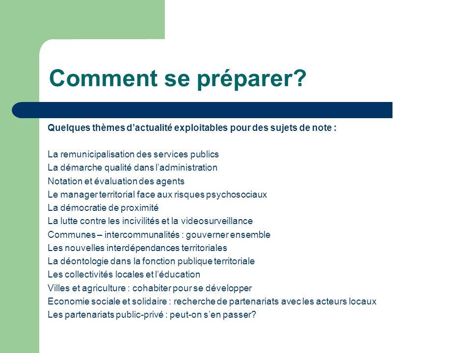 Comment se préparer Quelques thèmes d'actualité exploitables pour des sujets de note : La remunicipalisation des services publics.