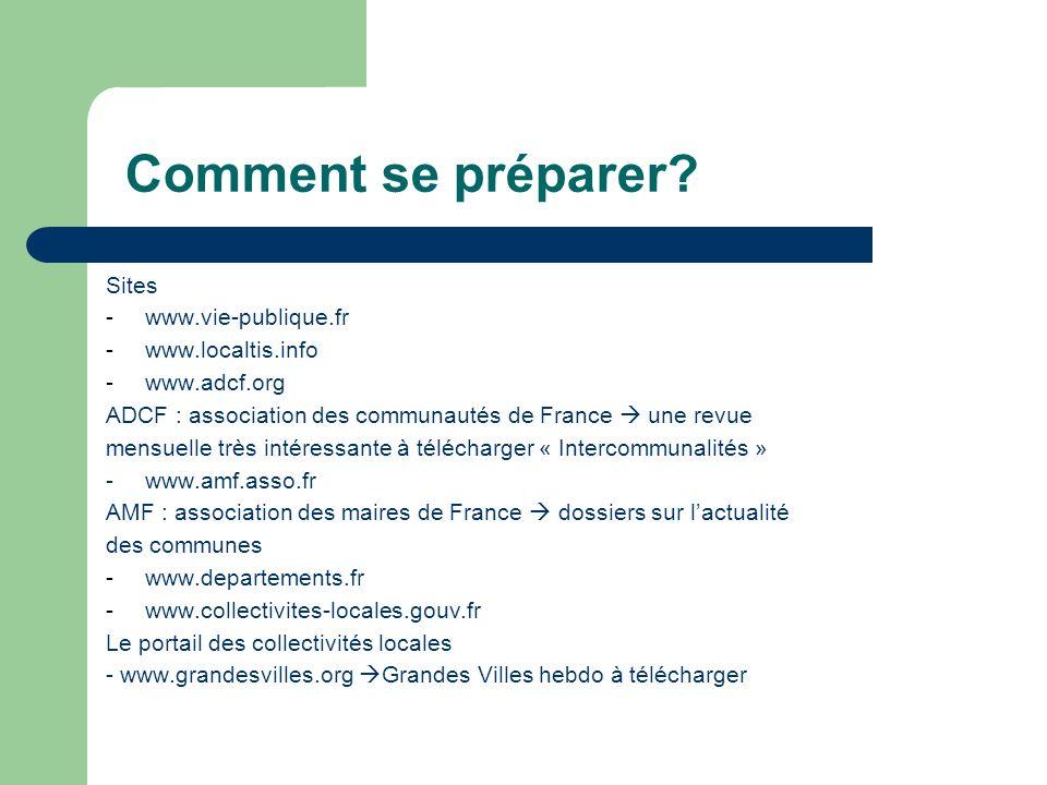 Comment se préparer Sites www.vie-publique.fr www.localtis.info