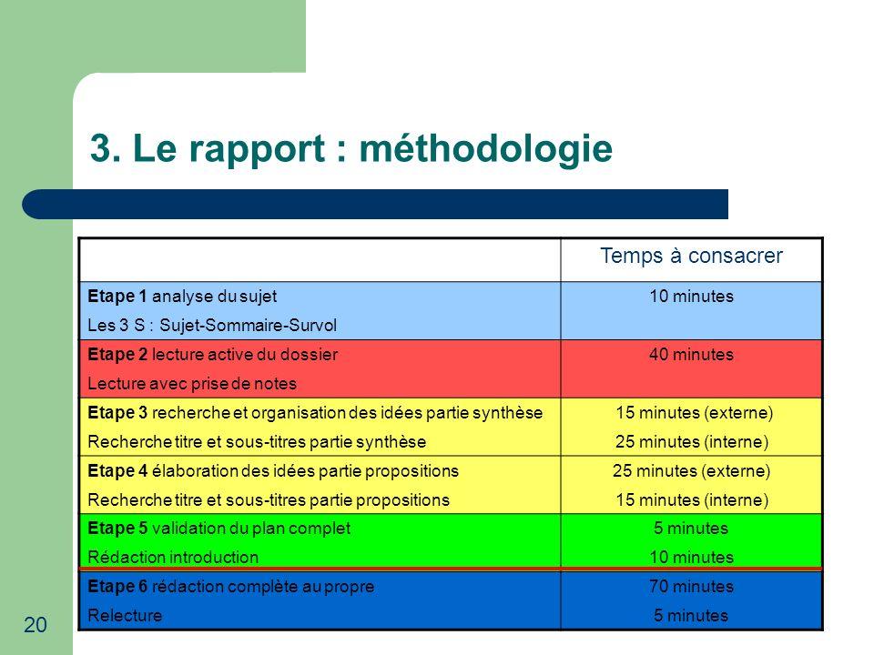 3. Le rapport : méthodologie