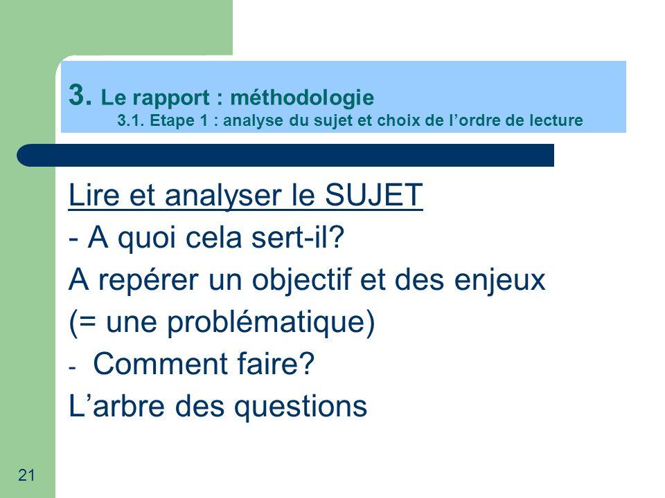 Lire et analyser le SUJET - A quoi cela sert-il