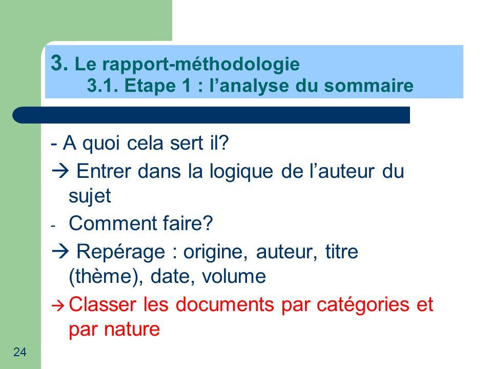 3. Le rapport-méthodologie 3.1. Etape 1 : l'analyse du sommaire