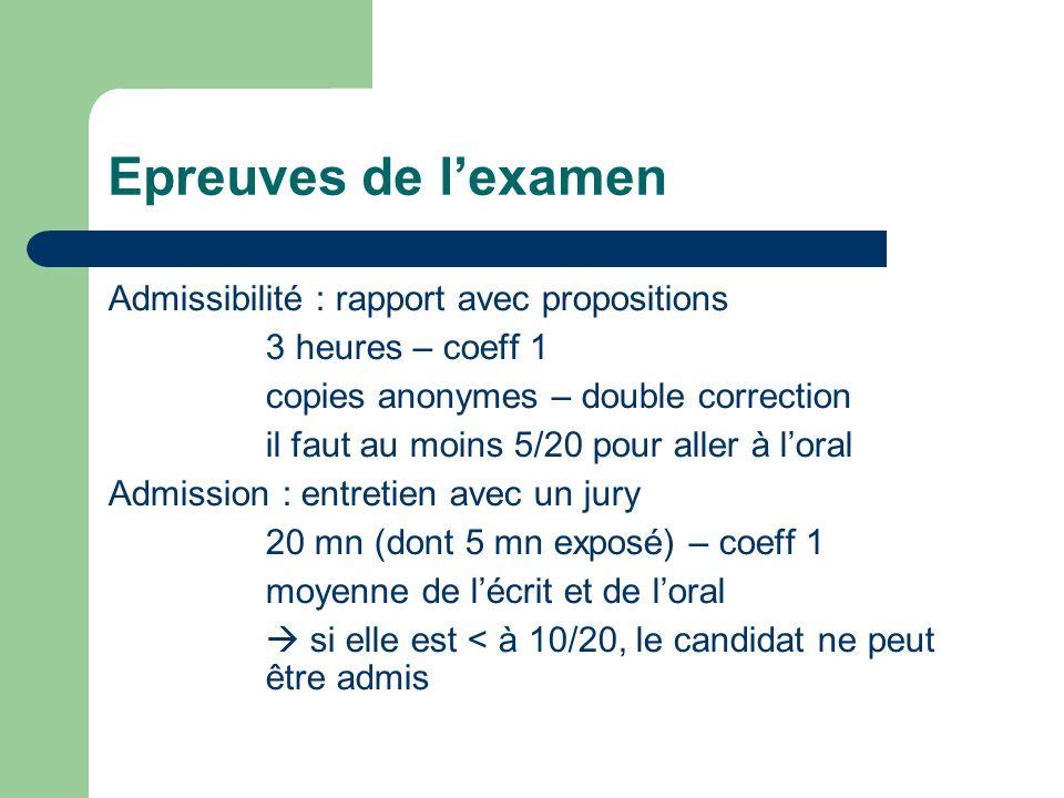 Epreuves de l'examen Admissibilité : rapport avec propositions