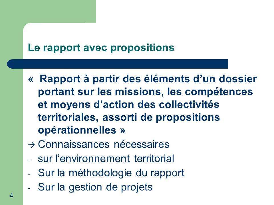 Le rapport avec propositions