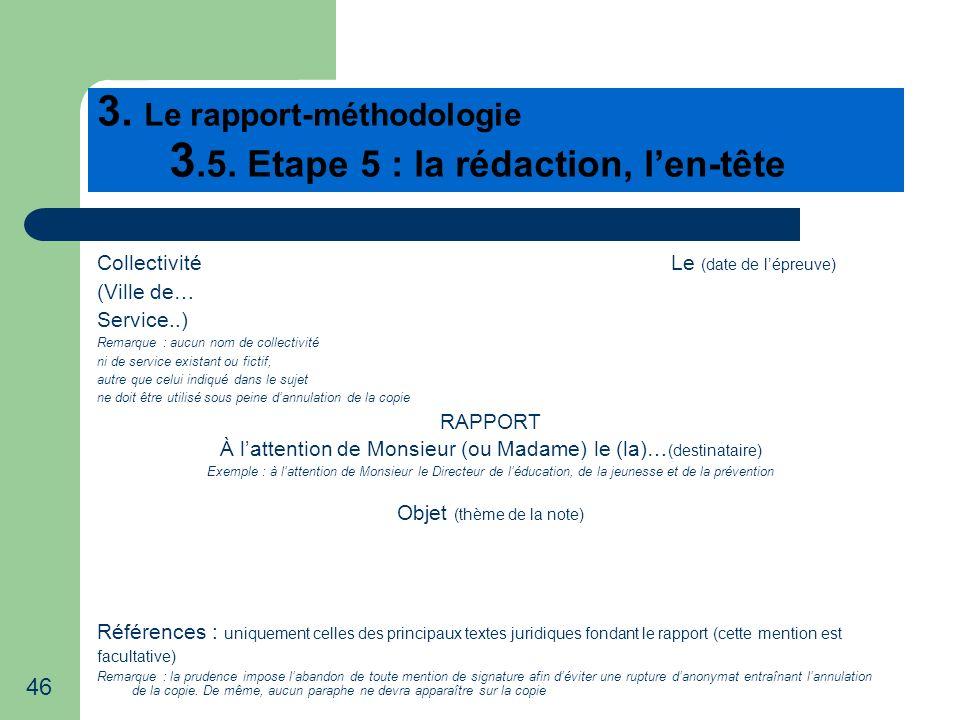 3. Le rapport-méthodologie 3.5. Etape 5 : la rédaction, l'en-tête