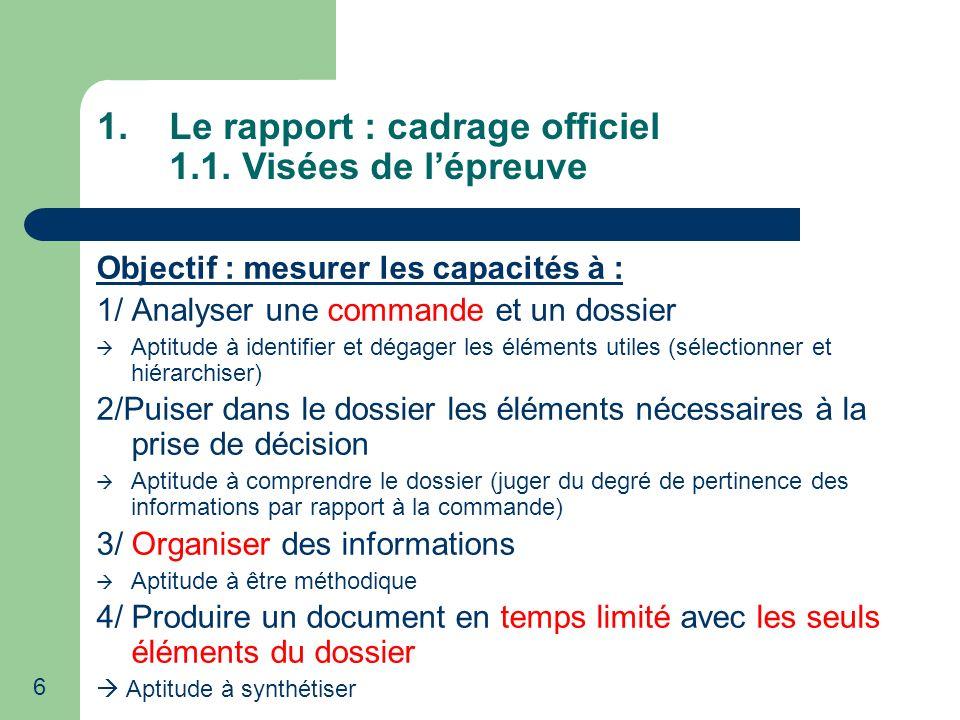 Le rapport : cadrage officiel 1.1. Visées de l'épreuve