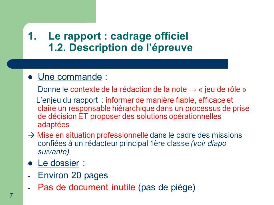 Le rapport : cadrage officiel 1.2. Description de l'épreuve