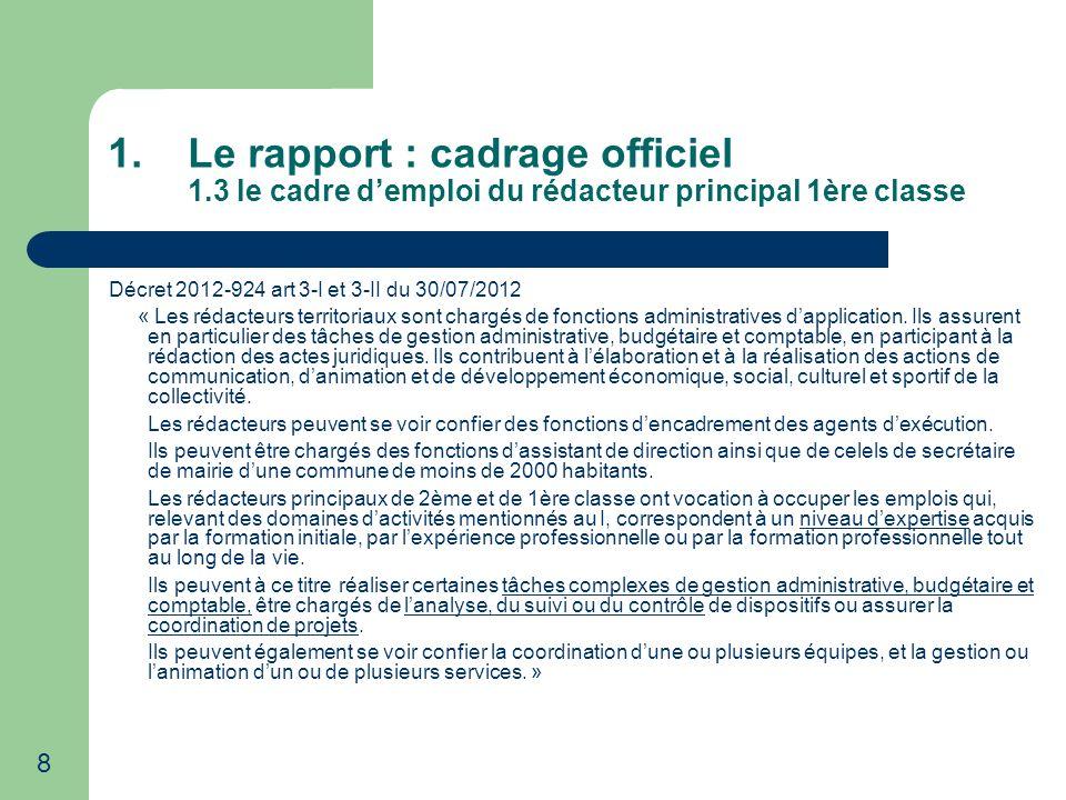 Le rapport : cadrage officiel 1