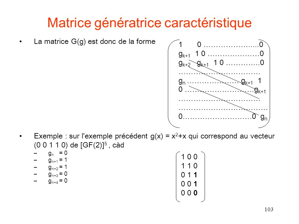 Matrice génératrice caractéristique