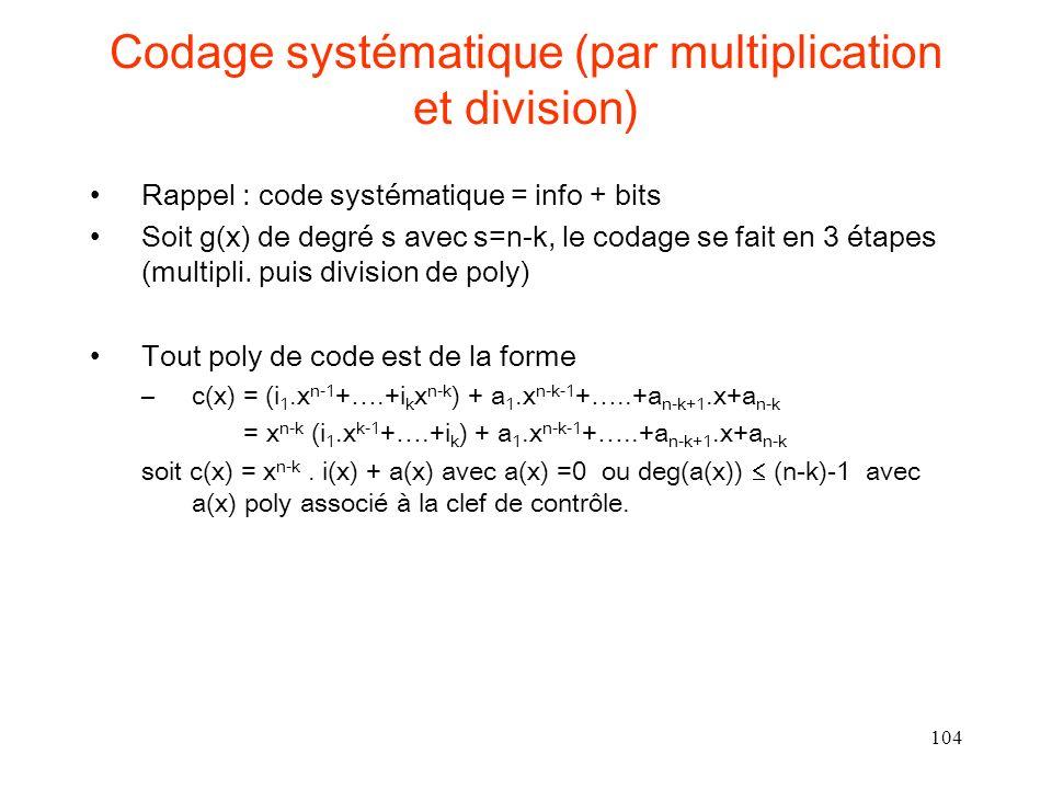Codage systématique (par multiplication et division)