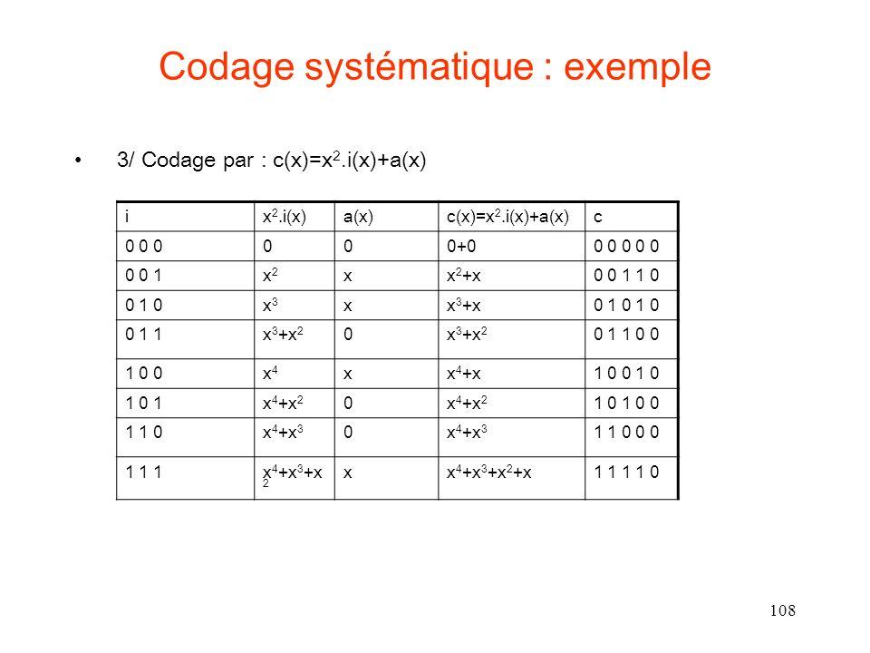 Codage systématique : exemple