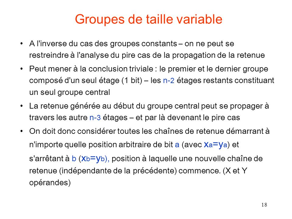 Groupes de taille variable
