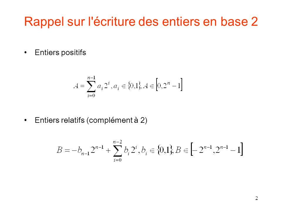 Rappel sur l écriture des entiers en base 2