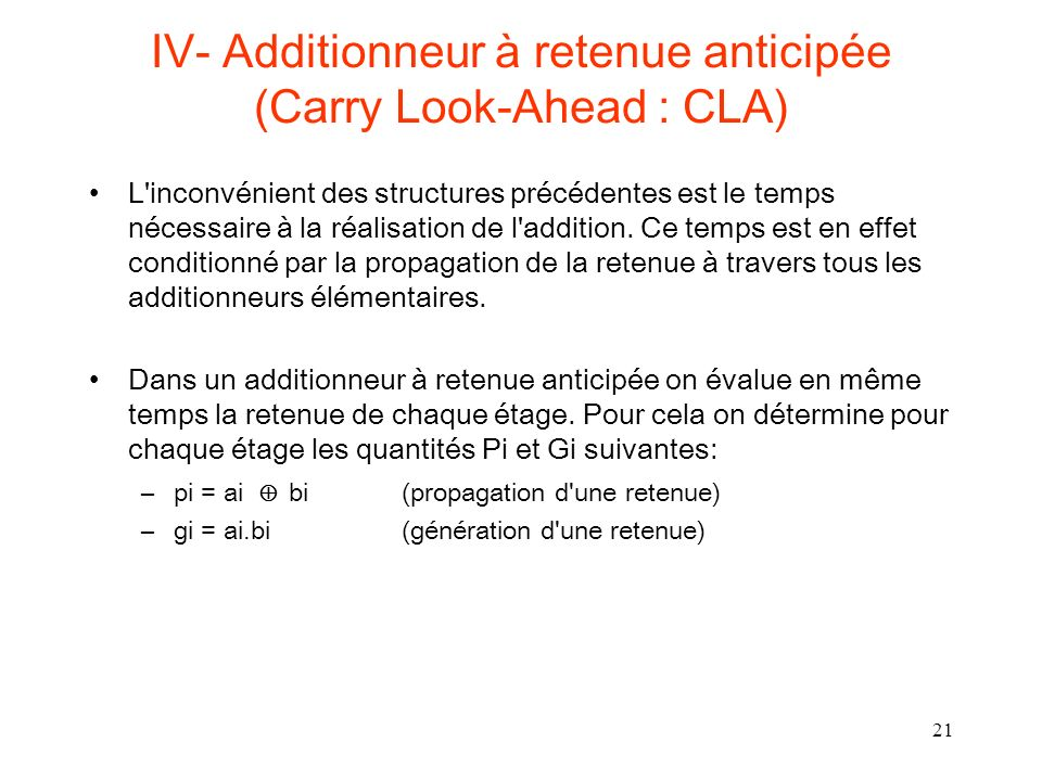 IV- Additionneur à retenue anticipée (Carry Look-Ahead : CLA)