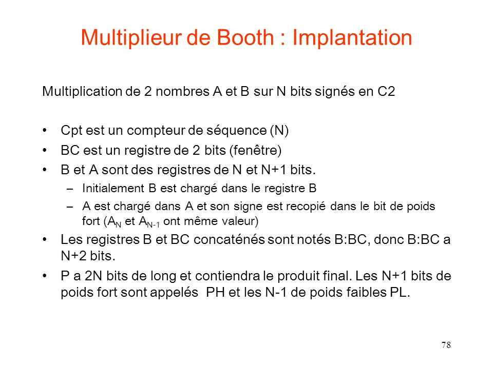 Multiplieur de Booth : Implantation