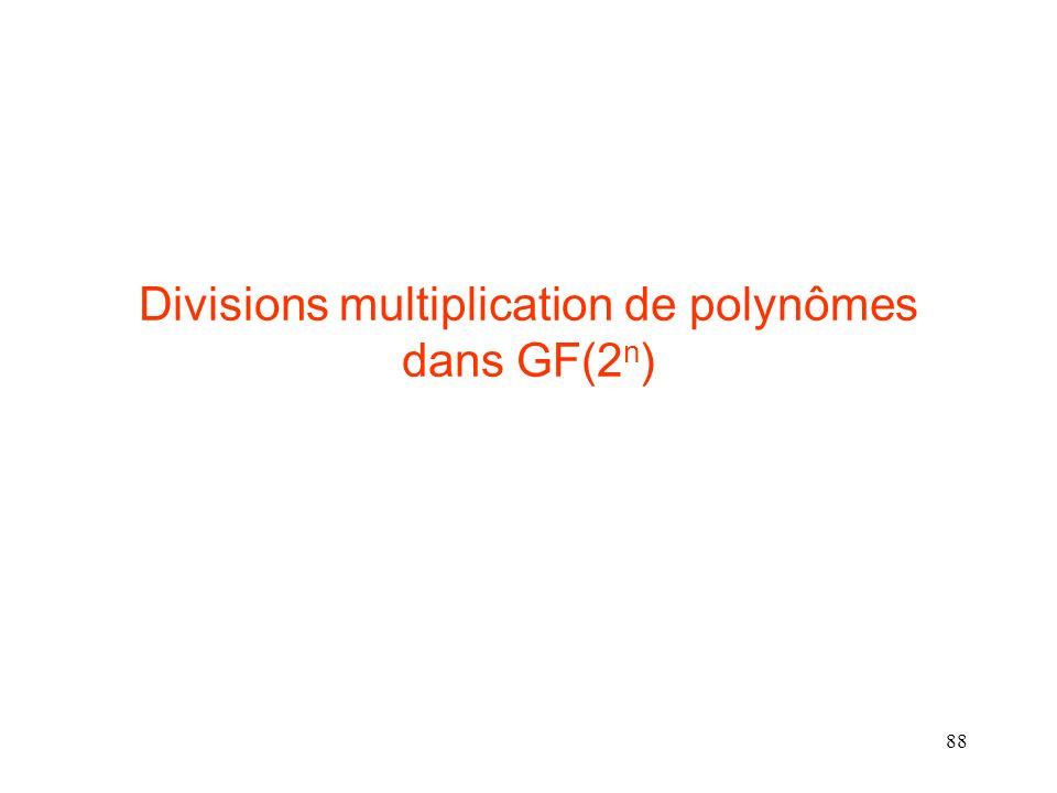 Divisions multiplication de polynômes dans GF(2n)