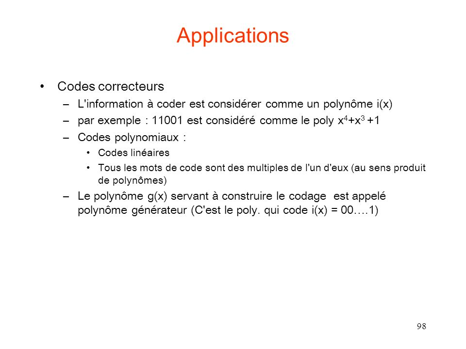 Applications Codes correcteurs