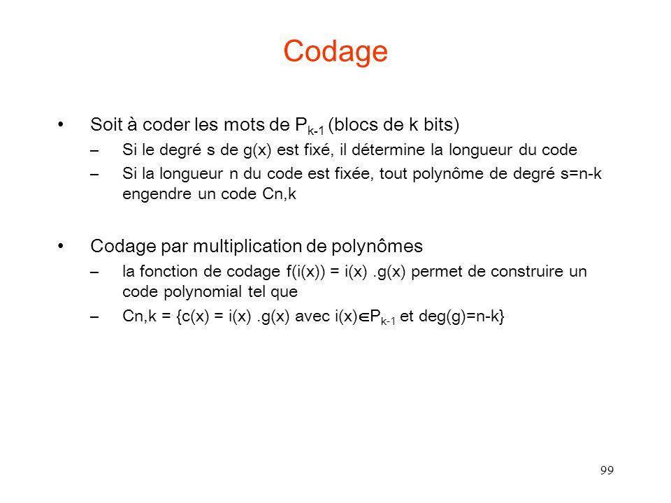 Codage Soit à coder les mots de Pk-1 (blocs de k bits)