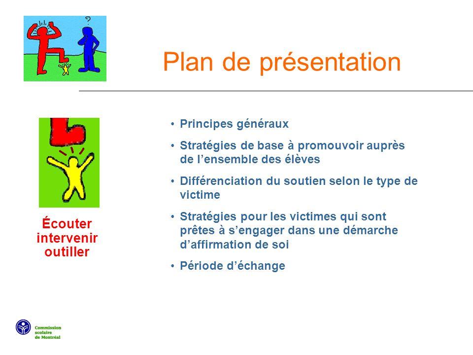 Plan de présentation Écouter intervenir outiller Principes généraux