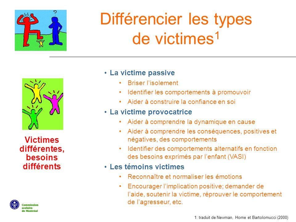 Victimes différentes, besoins différents