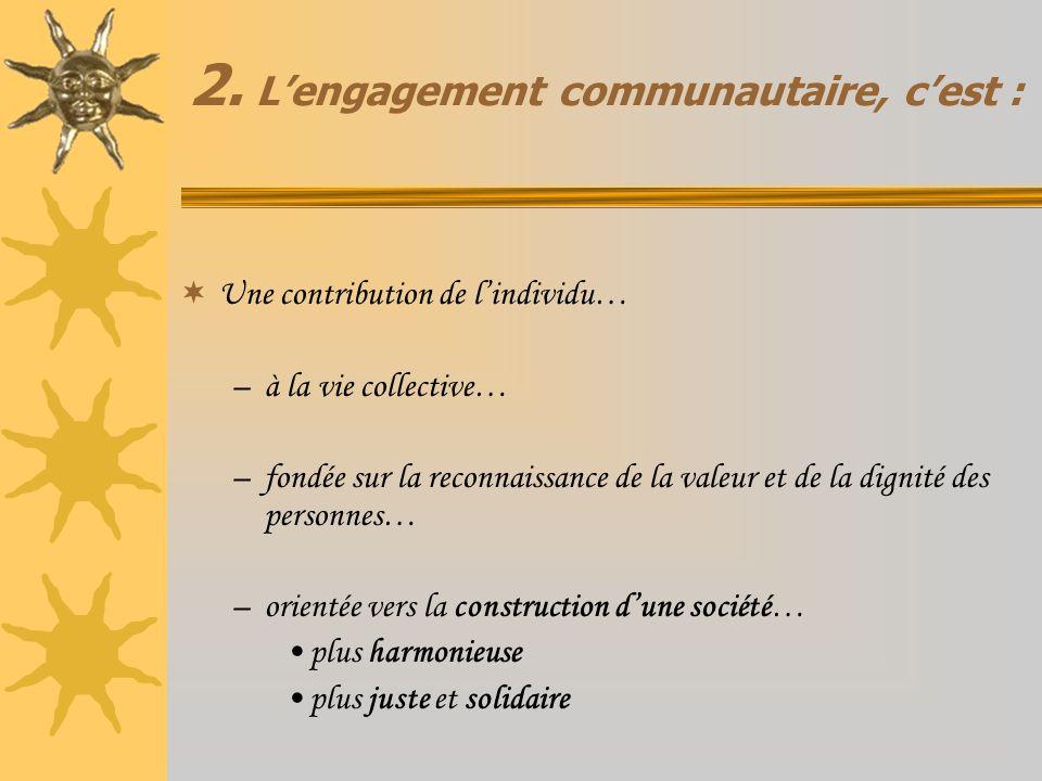 2. L'engagement communautaire, c'est :