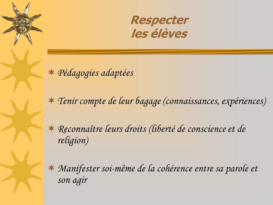 Respecter les élèves Pédagogies adaptées