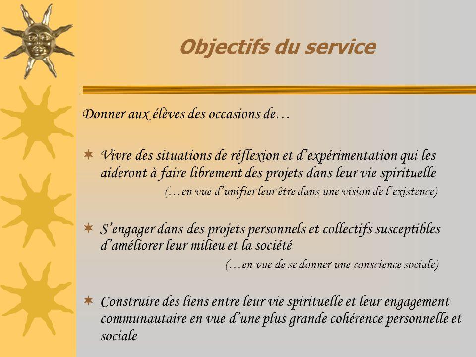 Objectifs du service Donner aux élèves des occasions de…