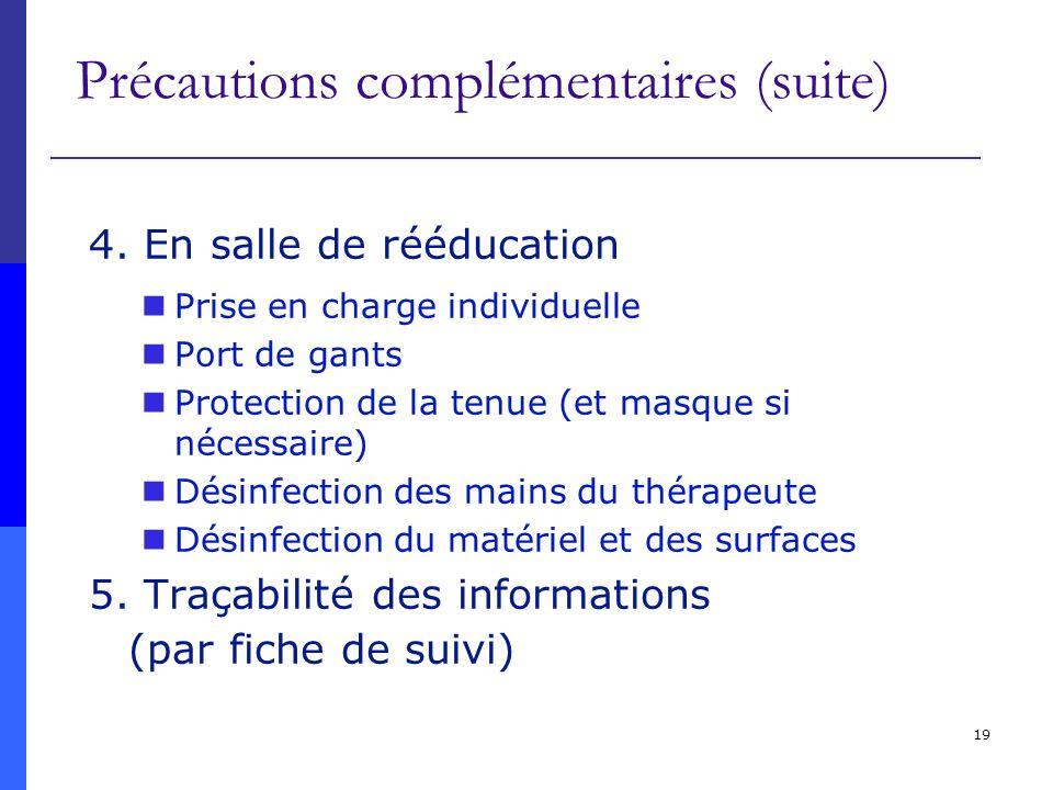 Précautions complémentaires (suite)