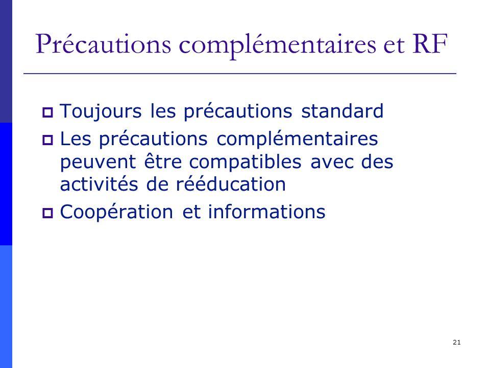 Précautions complémentaires et RF
