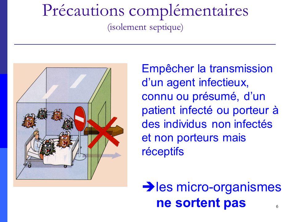 Précautions standard Précautions complémentaires (isolement septique)