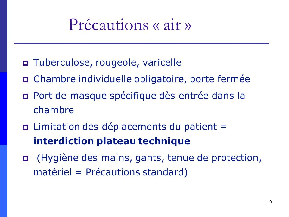 Précautions « air » Tuberculose, rougeole, varicelle