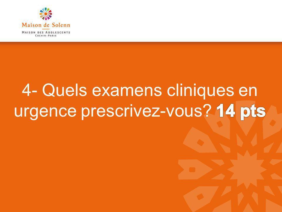 4- Quels examens cliniques en urgence prescrivez-vous 14 pts
