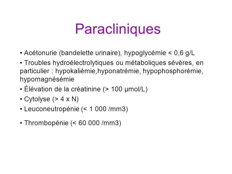 Paracliniques • Acétonurie (bandelette urinaire), hypoglycémie < 0,6 g/L.