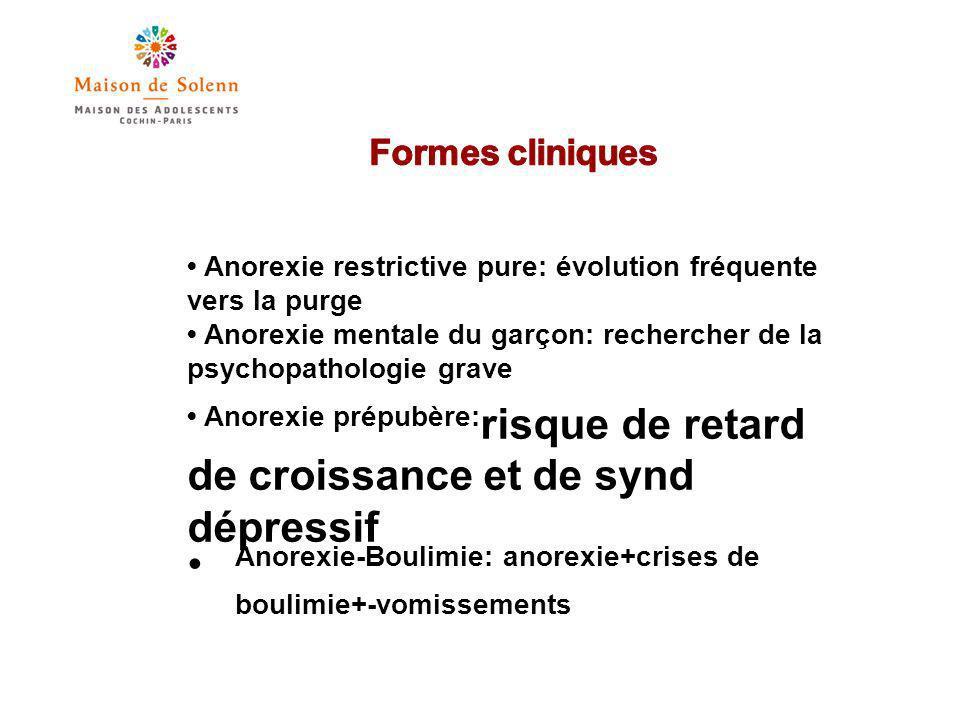 Formes cliniques • Anorexie restrictive pure: évolution fréquente vers la purge.